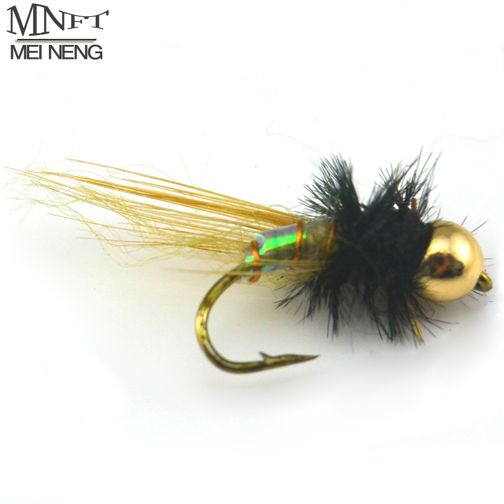 MNFT 10PCS [ 12# ] Holographic Brass Bead Head Midge Fly Trout Fishing Flies Nymph Lure 12pcs 14 red tail bead head buzzer nymph fly for trout fishing lures