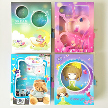 Student stationery, cartoon box with lock hard copy notes diary book Yiwu stationery wholesale