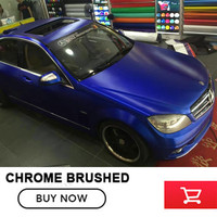 High Quality Matt Brushed Chrome Deep Blue Car Vinyl Film Bubble Free For Car Wrapping Size