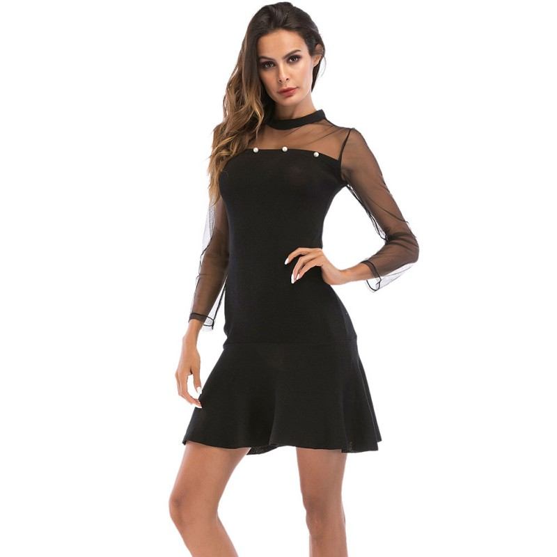 Sexy Hollow Out Black Mesh Dress Women Ultra Thin Patchwork Long Sleeve Dresses Female Slim Bodycon Party Club Dress Vestidos H7