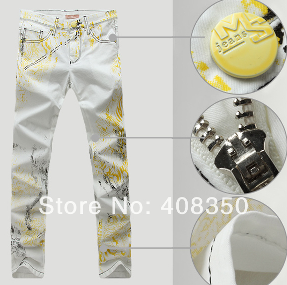 ФОТО Men's Fashion Yellow Print White Skinny Jeans, 2016 New Cool Slim Straight Designer Jeans, Pockets Leisure Denim Pants Trousers