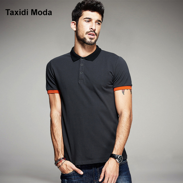 2017 Summer Mens Fashion Polo Shirts Patchwork Dark Grey Color Brand Clothing Man's Short Sleeve Clothes Male Wear Slim Fit Tops