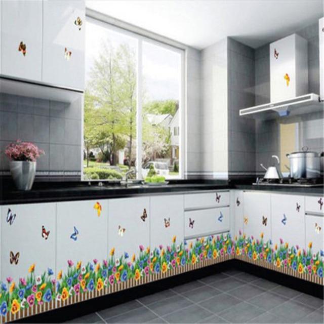 Rumput Hijau Bunga Kupu Stiker Dinding Dilepas Art Diy Dekorasi Dapur Rumah
