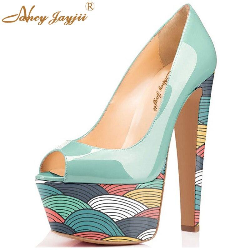 152f6e4385cd Nancyjayjii Wedding Red Shoes Woman Punk Scrawl Platform Pleather  Watercolor Peep Toe High Heels 15CM Pumps bottom Flower Shoes