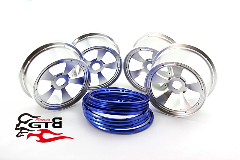 GTBRacing 2 front and 2 rear Wheel hub/rim with beadlock ring for 1/5 hpi baja losi 5ive-T Rovan KM losi 5ive t hd billet rear hub carriers