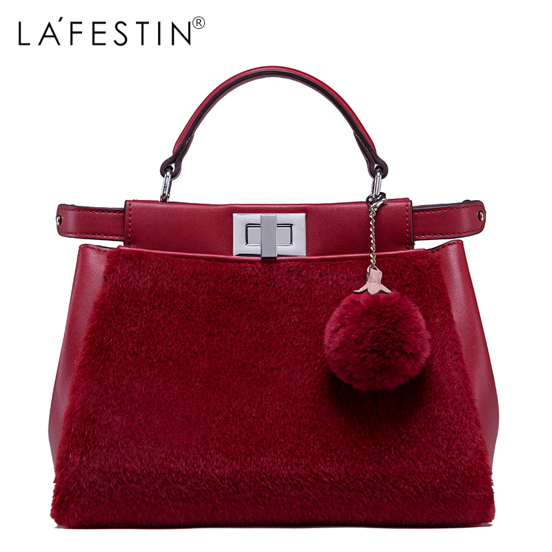 LAFESTIN Women Designer Lock Plush Handbags Velvet Luxury Totes Multifunction brands Famous Bags Shoulder Bag bolsa lafestin luxury shoulder women handbag genuine leather bag 2017 fashion designer totes bags brands women bag bolsa female