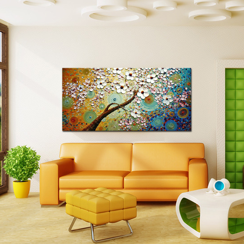 Frameless Handpainted Palette Knife Oil Painting Modern Picture Wall ...