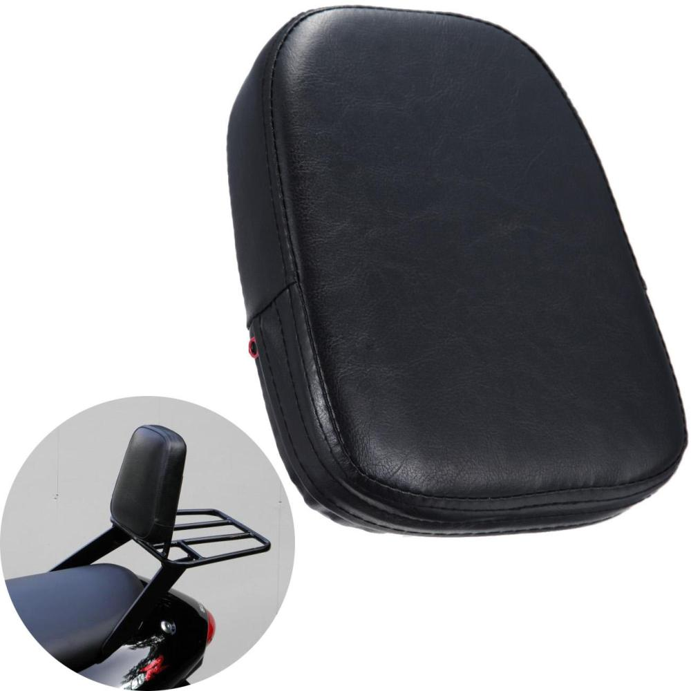 Motorcycle Universal Black Leather Rear Passenger Backrest Seat Cushion Pad For Harley Sportster Dyna Honda Suzuki