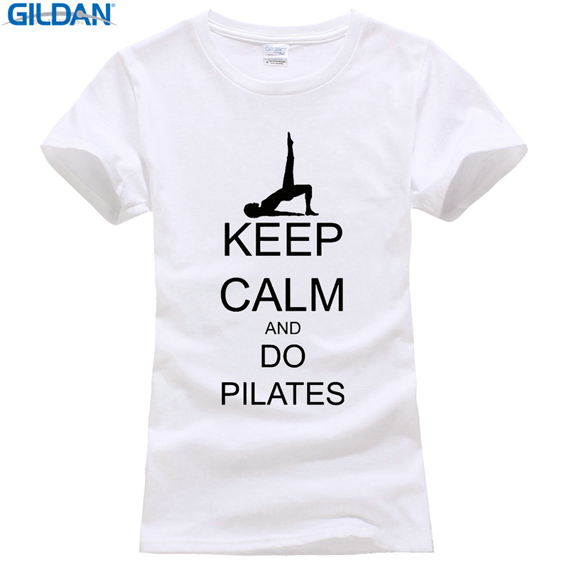 Casual Printed Tee Size S-Xl Short Sleeve Women Printing Machine Keep Calm And Do Pilates O-Neck T Shirts