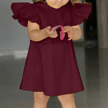 Baby Girls Fly Sleeve Solid Bow Dress Clothes