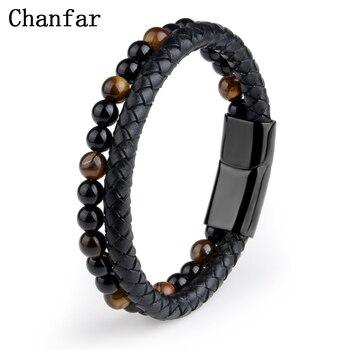 Bracelet en cuir v ritable noir pour hommes bijoux en pierre naturelle fermoir magn tique en