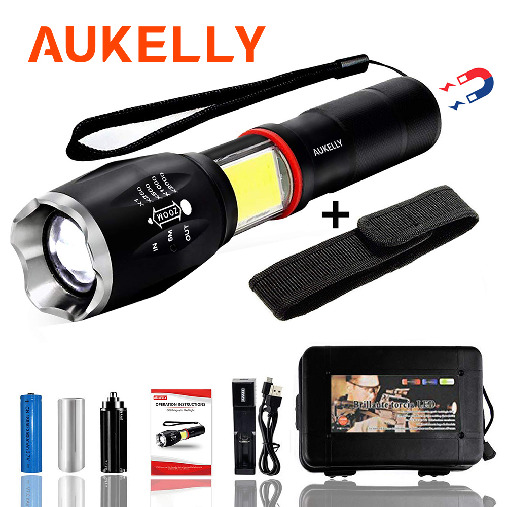 AUKELLY LED Tactical Flashlight Cob Aluminum Alloy Zoomable Torch 6 Modes Waterproof Handheld Tactics Lantern With Magnetic Base
