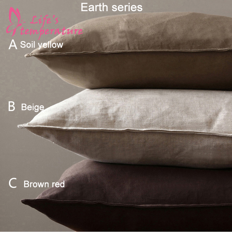 Solid Flax Pillow Case American Country Cotton Pillowcases Bedroom Living Room Comfortable Decorate Pillow Cover Pillowcase 002 in Pillow Case from Home Garden