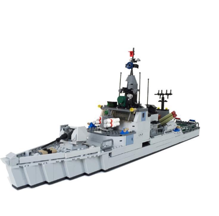 693 pièces 3D Modle bricolage bateau naval clan modèle blocs de construction briques militaire frégate jouets pour enfants