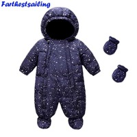 Baby Clothing Winter Romper for Baby Girl Boy Newborn Snowsuit Infant Jackets Jumpsuit Kids Hooded Romper+Gloves+Shoes 3ps 11.11