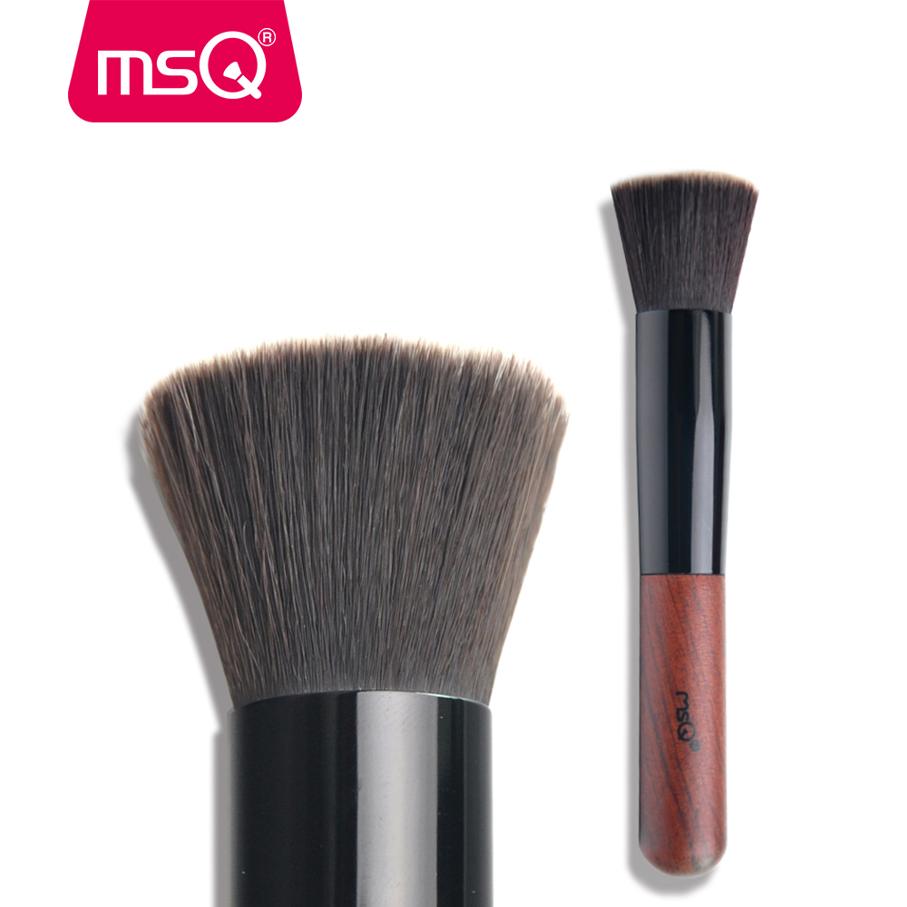 MSQ Professional Powder Makeup Brush Single Flat Top Foundation Make up Brush Soft Synthetic Hair With Wood Handle For Face msq cosmetic single make up powder foundation brush blush angled flat top base liquid cosmetic makeup brush tool