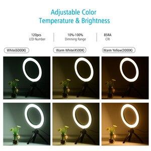 Image 5 - 4.6/8.6 Cal 60/120 LED lampa pierścieniowa wideo z uchwyt do smartfona do telefonu z mini stojak trójnóg LED Light do fotografii