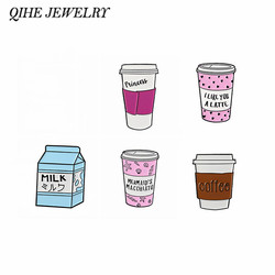 QIHE JEWELRY Coffee pins Travel cup brooches To go cup badges Milk lapel pins Gift for coffee lover Milk lover