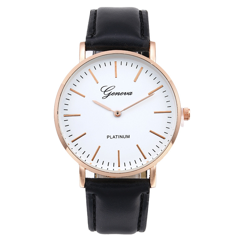 Chasy 2018 Fashion Simple Geneva Lovers Quartz Watch Brown Black Leather Straps Silver Golden Dial Unisex Sport Watch Hot Sale