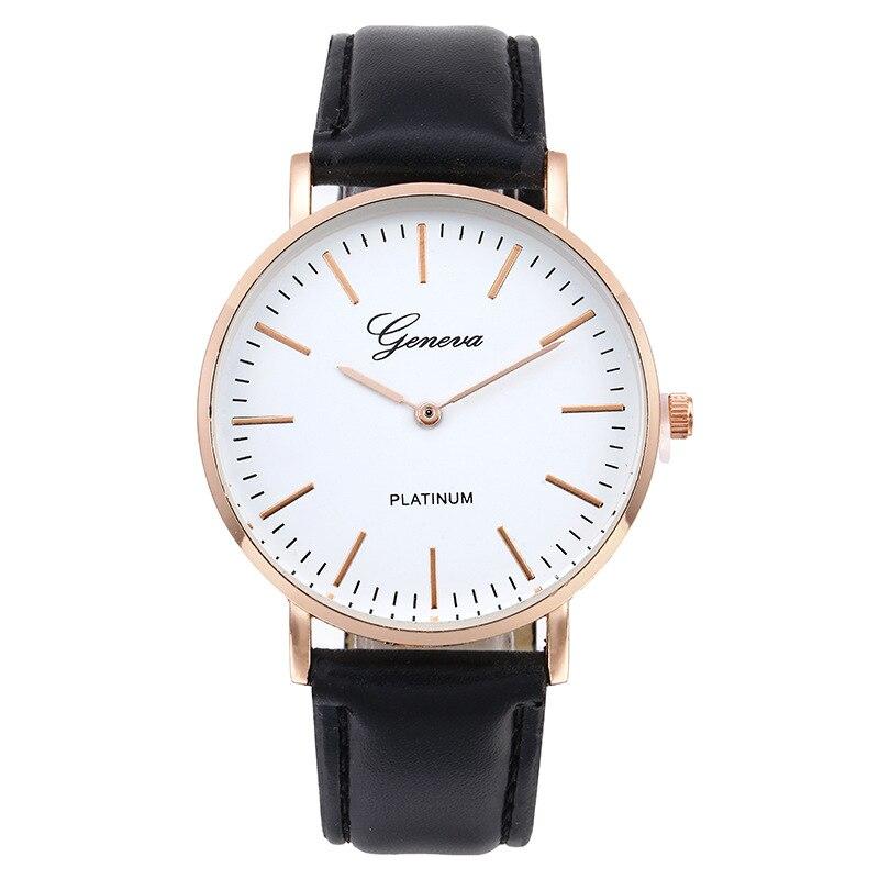 Chasy 2018 Fashion Simple Geneva Lovers Quartz Watch Brown Black Leather Straps Silver Golden Dial Unisex Sport Watch Hot Sale