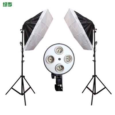 Diffuseur lumière 50*70 cm éclairage continu Softbox pour 4-en-1 douille E27 support de lampe avec 2 pièces 2 M support de lumière Kit de Studio Photo