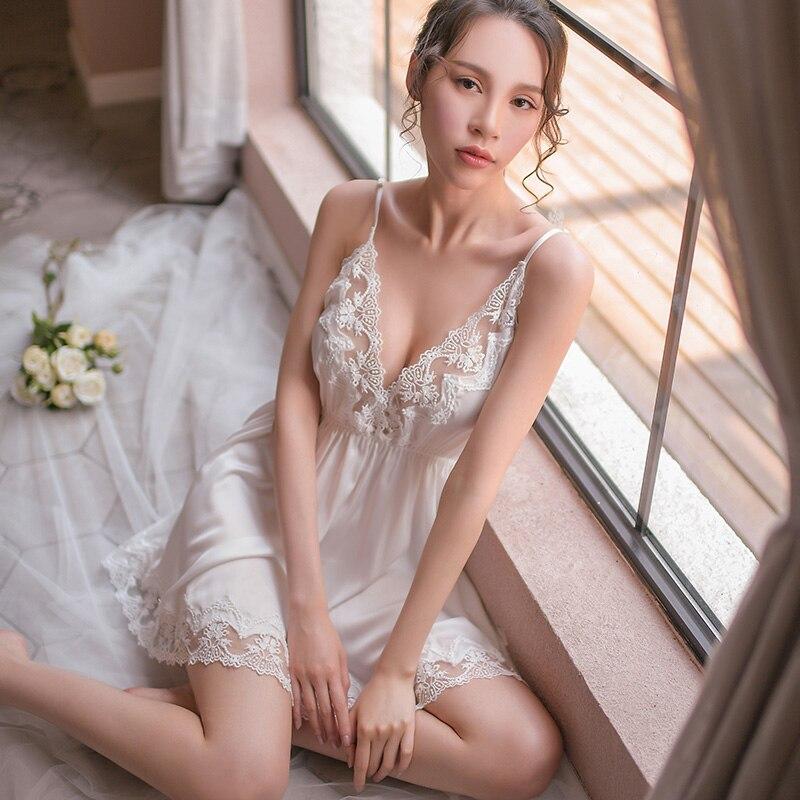 Women Sexy Lingerie Nighgowns Sleeping Dress Lace Satin Sleepwear Deep V Nightdress Homewear Backless Nightwear Night Dress