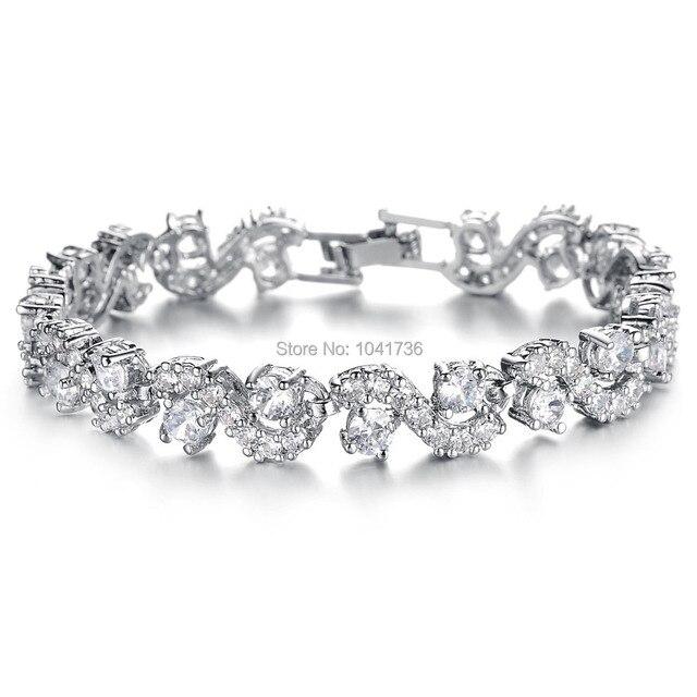 7b73fc3118958 US $17.76 |Wholesale 925 Silver Platinum Plated Bracelet Women Bangles  Fashion Simulated Diamond Inlayed White Royal Blue Bracelets Gift-in Charm  ...