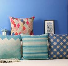 Творческий акварель впечатления ромбический белье хлопок подушка наволочки подушка домашнего офиса украшают диванные подушки