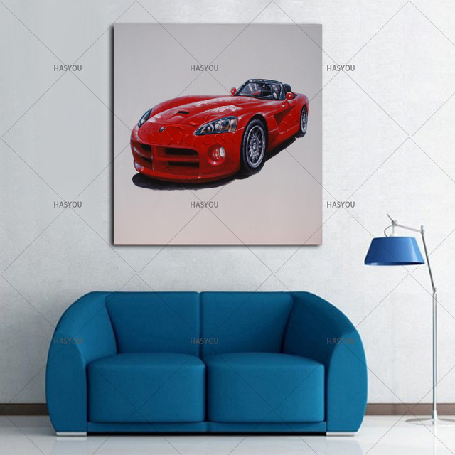 Modern Abstract 100% handpainted Red Ferrari sports car Oil Painting ...
