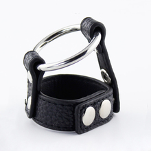 PU Leather Double Cock Rings Rubber For Mans Adult Games Penis Ring Delay Time Sex Toys For Male