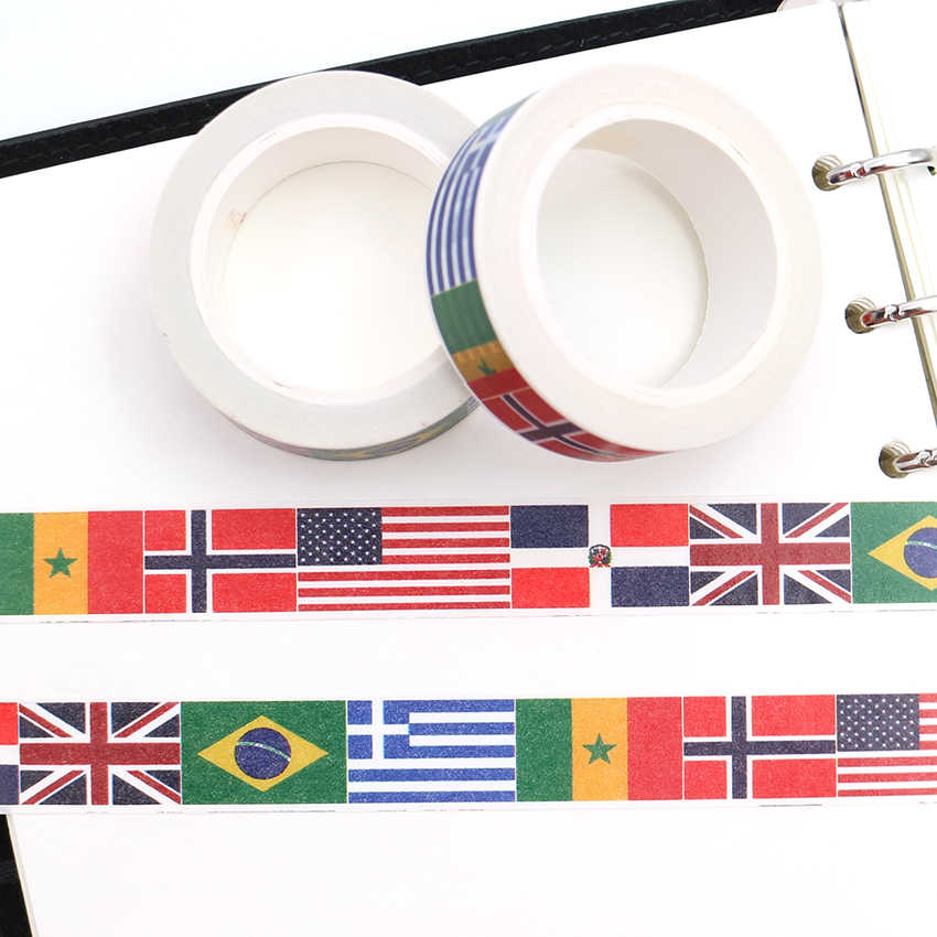 Paquete de caja de 15mm x 10m, cinta adhesiva Washi con bandera nacional, cinta decorativa para álbumes de recortes, cinta adhesiva para oficina, cinta adhesiva DIY