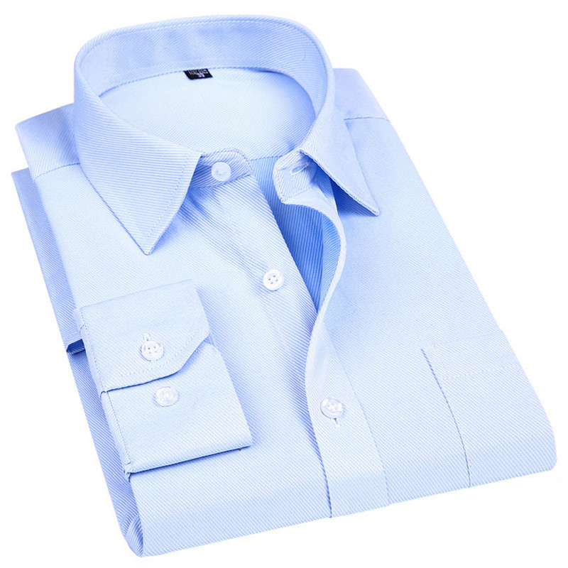 Men Dress Long Sleeve Shirt Brand New Fashion Designer High Quality Solid Male Clothing Fit Business Shirts White Blue Black 4XL