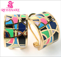 RED SNAKE Great Value! Hot Selling Width Rose Gold plated Rainbow Color  Enamel Jewelry Earrings