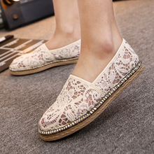The New Summer Mesh Lace Shoes Soled Breathable Hollow Flat Casual Women Shoes flats fashion shoes