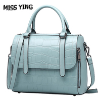 MISS YING Brand Genuine Leather Bag Women Summer Fashion Style Shoulder Bags Ladies Small Alligator Cow