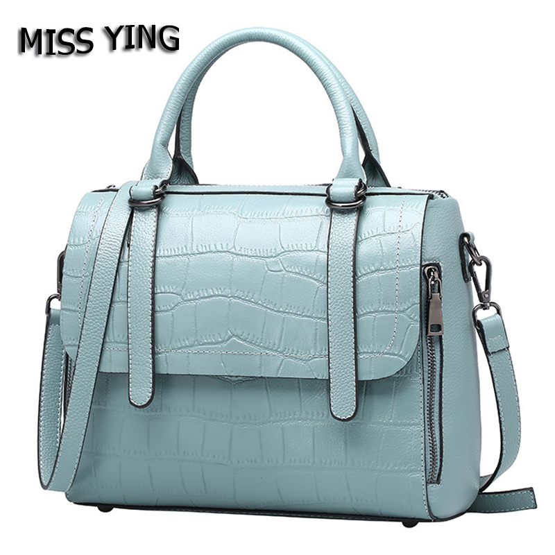 MISS YING Brand Genuine Leather Bag Women Summer Fashion Style Shoulder Bags Ladies Small Alligator Cow Leather Crossbody Bags new style fashion genuine leather women bag retro cow leather small shoulder bags top grade all match mini women crossbody bag