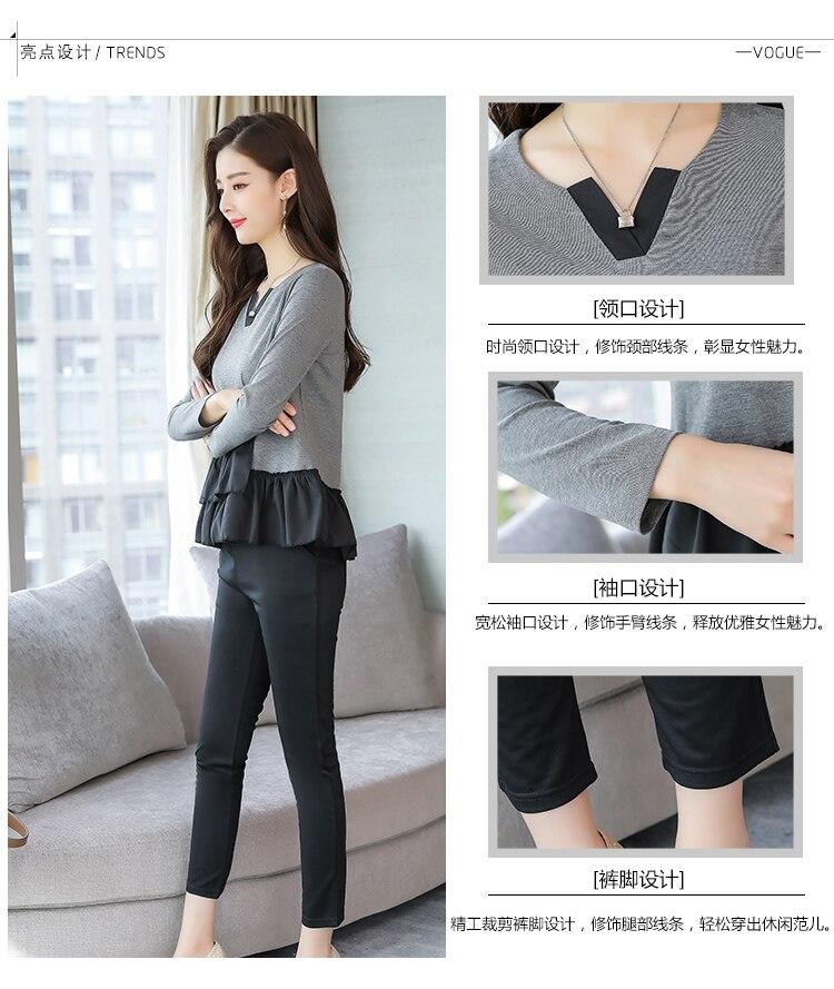 L-5xl Grey Black Casual Two Piece Set Women Long Sleeve V-neck Tops+skinny Pants Women's Sets Elastic Waist Pants Plus Size 2019 30