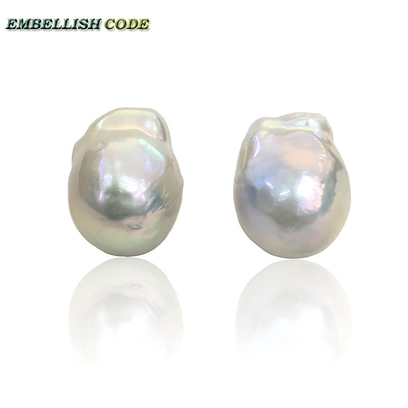 baroque pearl stud earrings white Lustrous tissue nucleated style fire ball shape natural freshwater pearls 925 silver Special