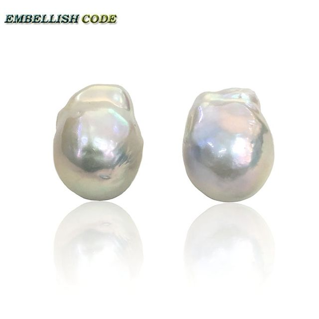 Baroque Pearl Stud Earrings White Rous Tissue Nucleated Style Fire Ball Shape Natural Freshwater Pearls 925