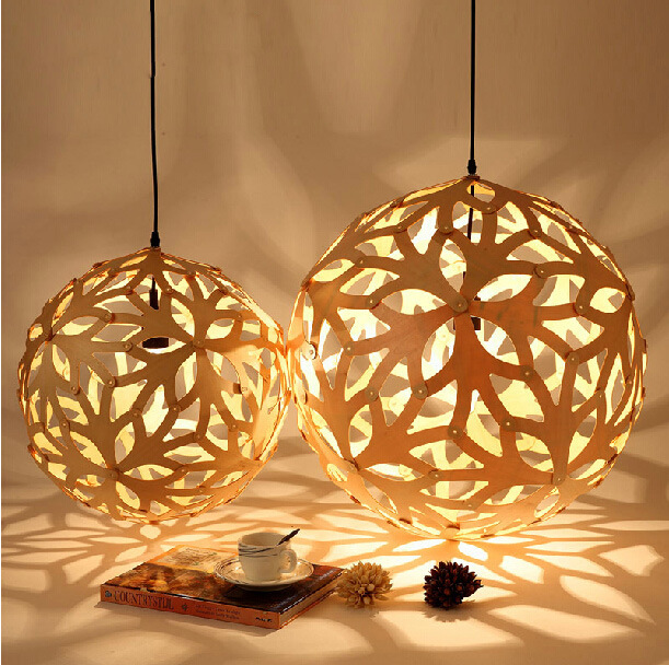 Creative Personality Dia456580CM Ball Round Wood Shade Pendant Lights with Gift Bulb For