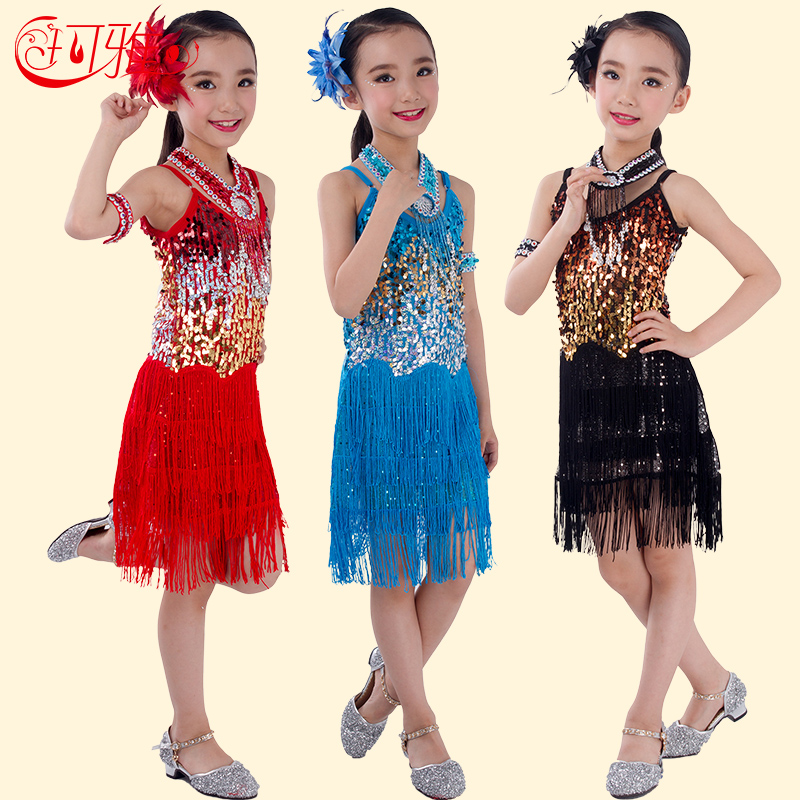 2016 Latin Dance Dress Girls Salsa Jazz Costumes Flamenco Rumba Samba Performance Latin Dance Dresses Kids Competition Dancewear