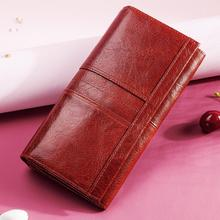 Genuine Leather Women Fashion Clutch Wallet Female Coin Purse  Clamp For Phone Bag Long Lady Handy Card  Holder