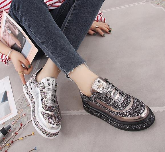 2019 mode chaussures femme diamant appartements chaussures décontractées femmes Slip Sneakers argent mocassins cristal cuir fille formateurs - 5