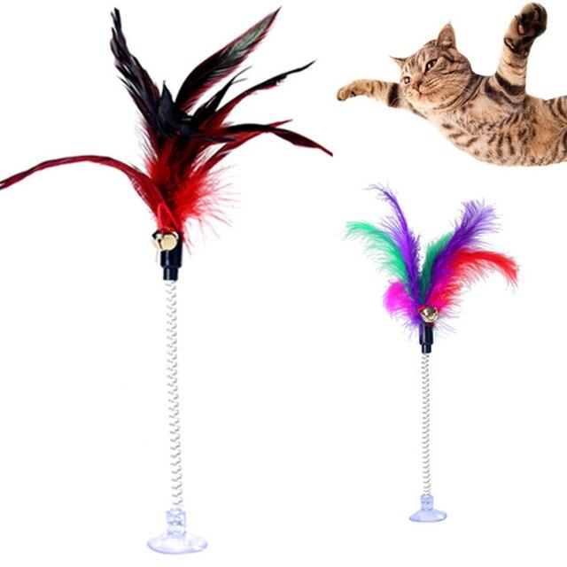 1 pz Gatto Pet Giocattoli In Metallo molla a filo di colore della piuma giocatto