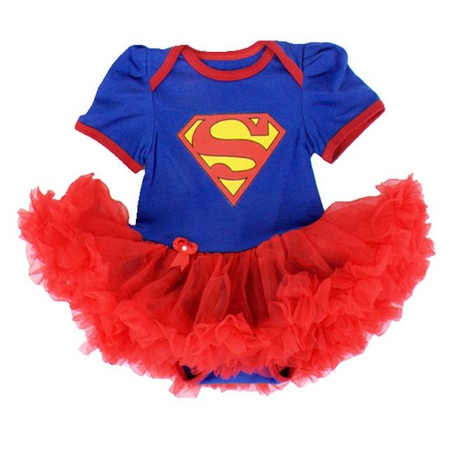 Traje de Superman Ropa Infantil Vestido de Partido Para Las Muchachas Del Niño Del Cordón Del Traje de Bebe Fille Bebé Jurkjes Vestido de Verano 2016