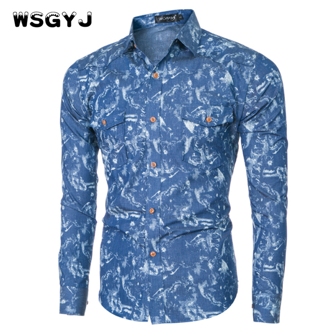 WSGYJ Men Shirt Luxury Brand 2018 Male Long Sleeve Shirts Casual Mens Tie-Dyed Denim Slim Fit Dress Shirts Mens Hawaiian 2XL
