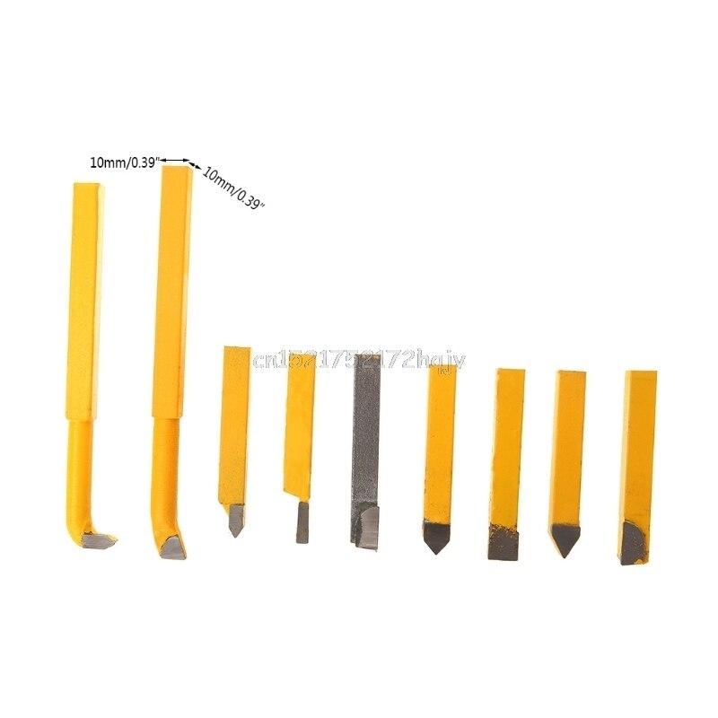 9 Pcs 10x10mm Hartmetall Drehmaschine Metall Cutter Schneiden Werkzeuge Set Drehen Langweilig D22 dropship