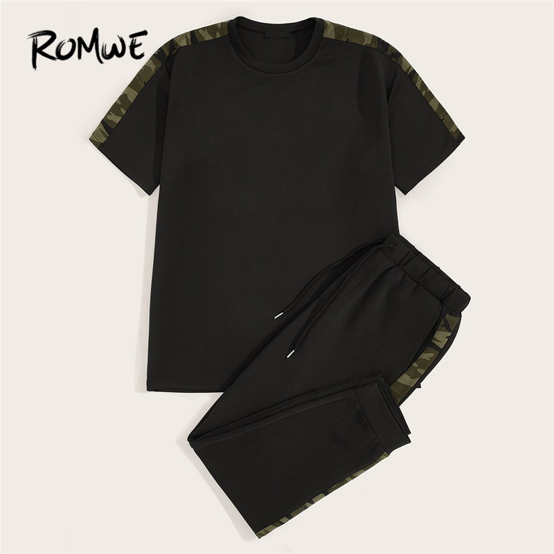 ROMWE Men Set Black Camouflage Side Seam T Shirts With Drawstring Sweatpants 2019 Casual Male Two-piece Tee And Pants Co-ords