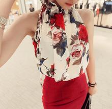 New summer Women's strapless floral print blouse sexy chiffon blouse Sleeveless loose shirt tops D1581