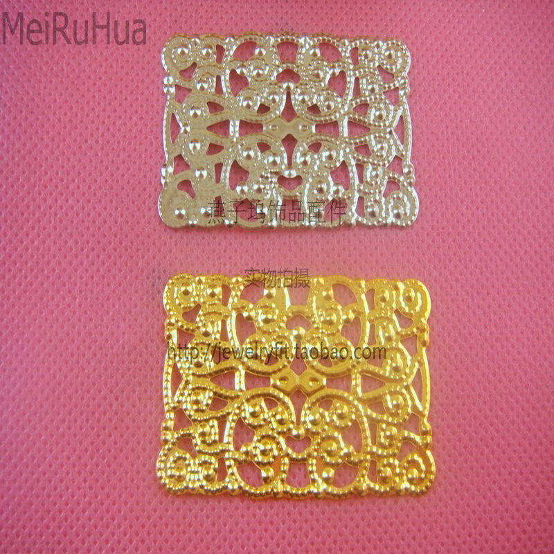 20 pcs/lot 30*50mm square Metal Filigree Flowers Slice Charms base Setting Jewelry DIY Components Findings